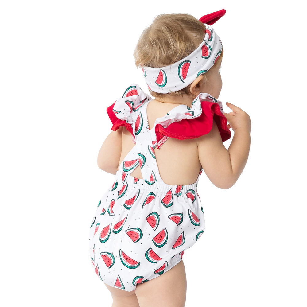 YK Loving One piece Watermelon Newborn Baby Romper backless Ruffles Sleeve Headband Fashion Jumpsuit Girls Infant Clothes Set in Clothing Sets from Mother Kids