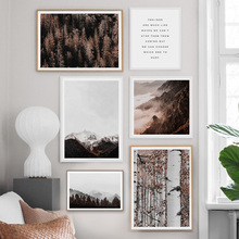 Birch Forest Fog Mountain Landscape Wall Art Canvas Painting Nordic Posters And Prints Pictures For Living Room Home Decor