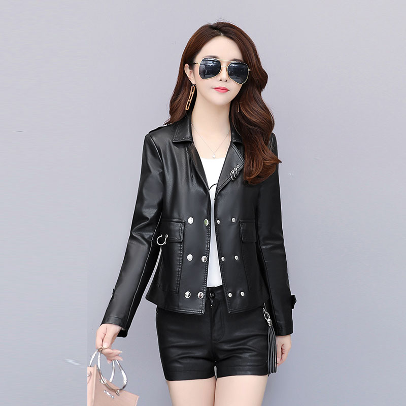 High Quality Women Genuine Leather Jacket 2019 Spring New Casual Turn Collar Sheepskin Leather Motorcycle Jacket