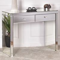 Giantex Silver Mirrored Console Table Home Vanity Dressing Make Up Desk With Drawers Modern White Bedroom