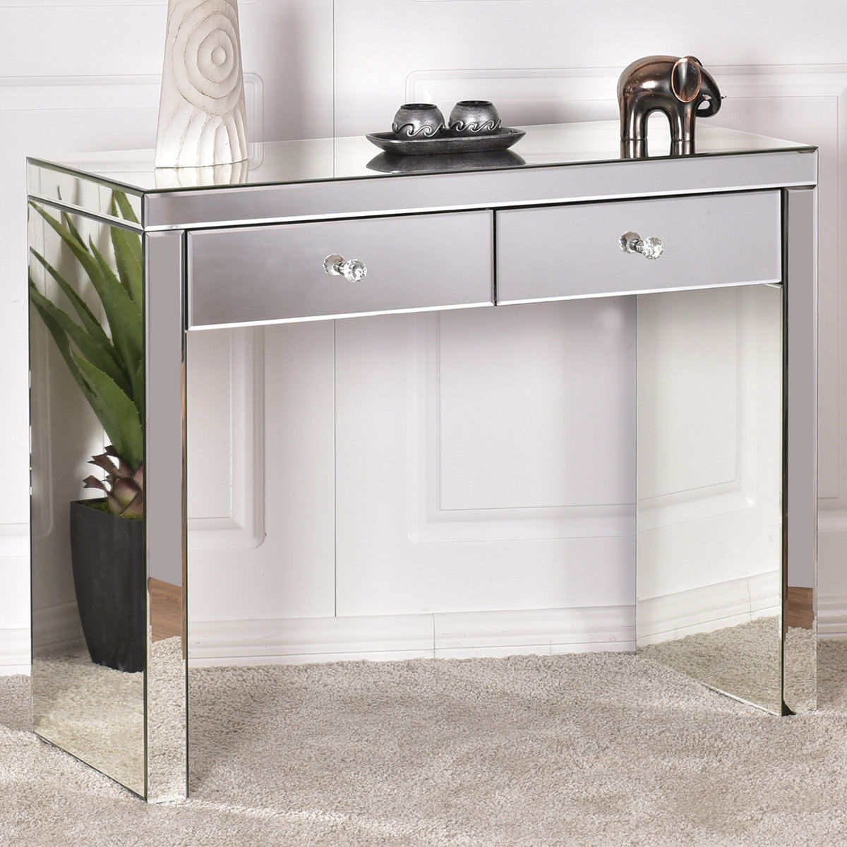 Buy giantex silver mirrored console table for Silver vanity table
