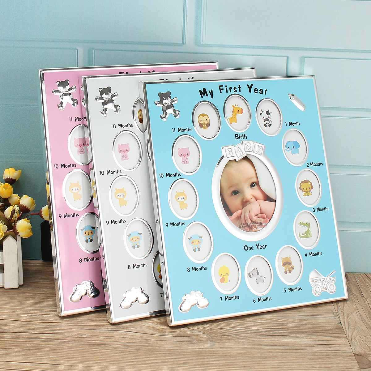 Pink/Blue/White My First Year Baby Gift Kids Birthday Gift Home Family Decoration Ornaments 12 Months Picture Photo Frame