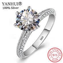 Big 95% OFF! 100% Original Solid 925 Silver Wedding Rings Fine Jewelry 1Ct CZ Zircon Stone Engagement Rings for Women HJZ279(China)
