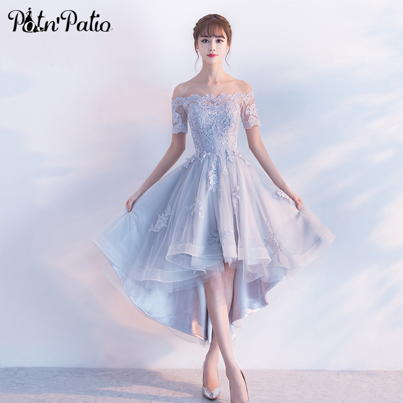 PotN'Patio Off The Shoulder With Cap Sleeves Silver Bridesmaid Dresses 2017 New High Low Bridesmaid Dresses Luxury Appliques