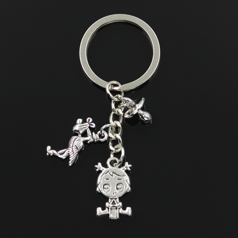 Fashion 30mm Key Chain Keychain Jewelry Silver Stork Baby Girl Pacifier Teether Pendant