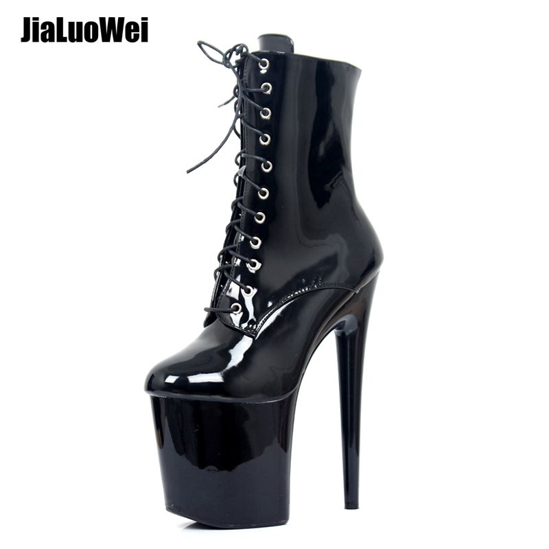 Jialuowei 20CM Extreme High Heels Platform Støvler Lace Up Pole Dance Ankle Boots Side Zip Black Plus Størrelse