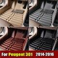 Esteiras do Assoalho do carro para Peugeot 301 2014-2016 anos XPE + Couro Anti-slip tapete do carro Dianteiro & Traseiro Forro Auto tapete Impermeável 4 cor
