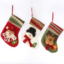 10pcs/lot Christmas Stockings Hanging Tree Decoration New Year Candy Bag Gifts Socks Stocking Xmas Ornament home