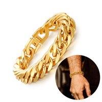 Men's 15mm Chunky Miami Cuban Link Bracelet in Golden Stainless Steel Hip Hop Rocker Biker Rapper DJ Large Bracelets Jewelry