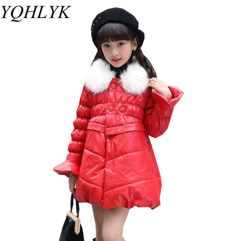 New Fashion Winter Cotton Girls Coat 2018 Children Pure Color Lapel Thick Warm Leather Jacket Sweet Elegant Kids Clothes W130 все цены