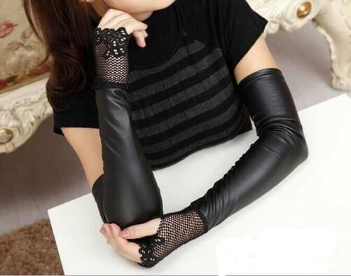 1 Paar Frauen Sexy Schwarz Pu Armlinge Spitze Handschuhe Lange Arm Ärmeln Arm Abdeckung Armmanschette Grade Produkte Nach QualitäT