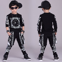 2016 дети комплект одежды весна Осень дети костюмы Черный Белый Ложным два Хип-Хоп шаровары и С Капюшоном толстовка twinset