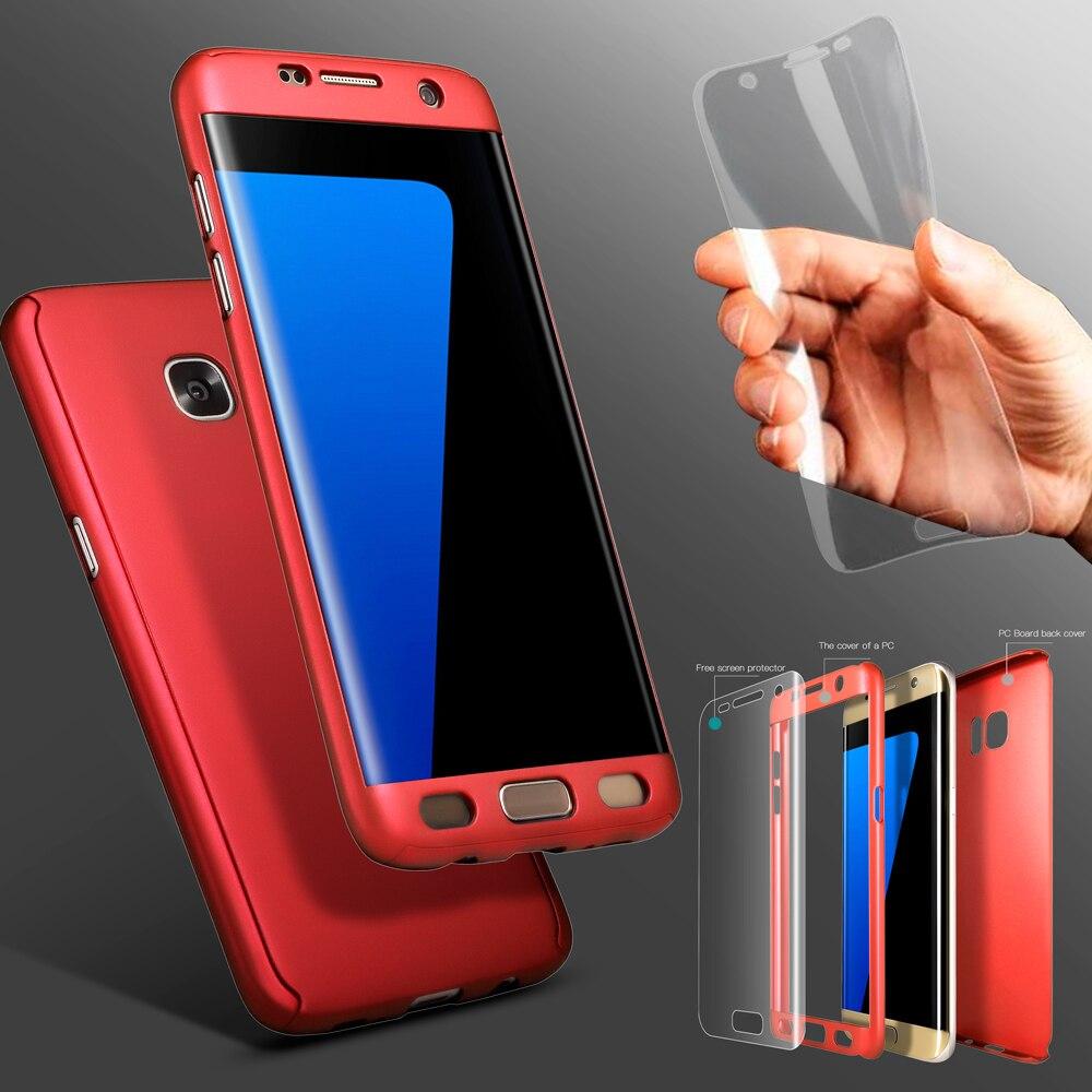 Coque 360 Degrés Full Body Cas de Téléphone pour Samsung Galaxy S7 S7 Bord Hybride Avant Couverture Arrière Capa para Fundas Trempé Verre Film