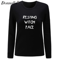 Donnalla Women T Shirt O Neck Long Sleeve Cotton Shirt Casual Basic Style Resting Witch Face