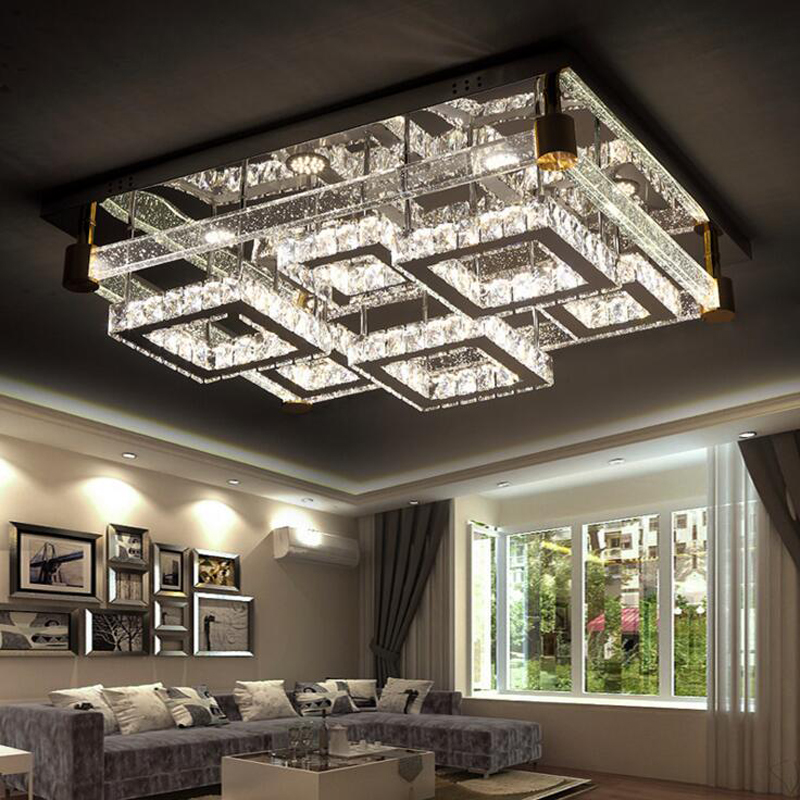 Atmospheric rectangular living room wire cutting crystal lamp led ceiling lamp modern intelligent lamps LED lighting fixture led new led high light living room crystal lamp rectangular living room lamp ceiling lamp chandelier lamp led lighting fixture led