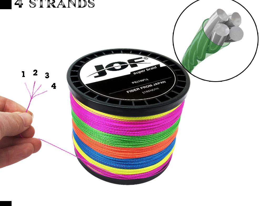 Multicolor 8 Strands 300M 500M 1000M PE Braid Fishing Line Sea Saltwater Fishing Weave 100% SuperPower JOF 18
