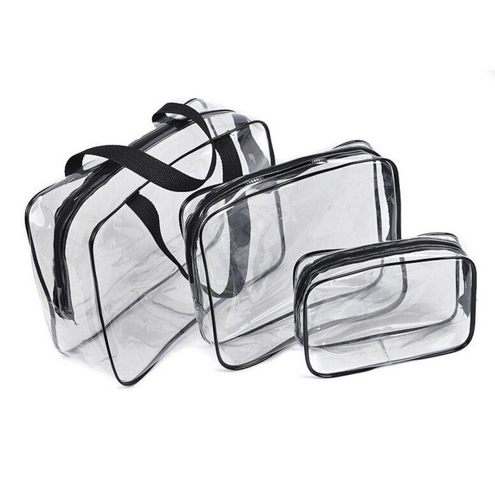 5x Hot 3pcs Clear Cosmetic Toiletry PVC Travel Wash Makeup Bag (Blackx