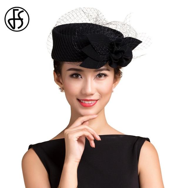 FS Chapeu Feminino Elegante Black Womens Flower Felt Hat Winter Quality  100% Wool Fedora Vintage Pillbox Hats With Classic Veil 8ed64d99f51