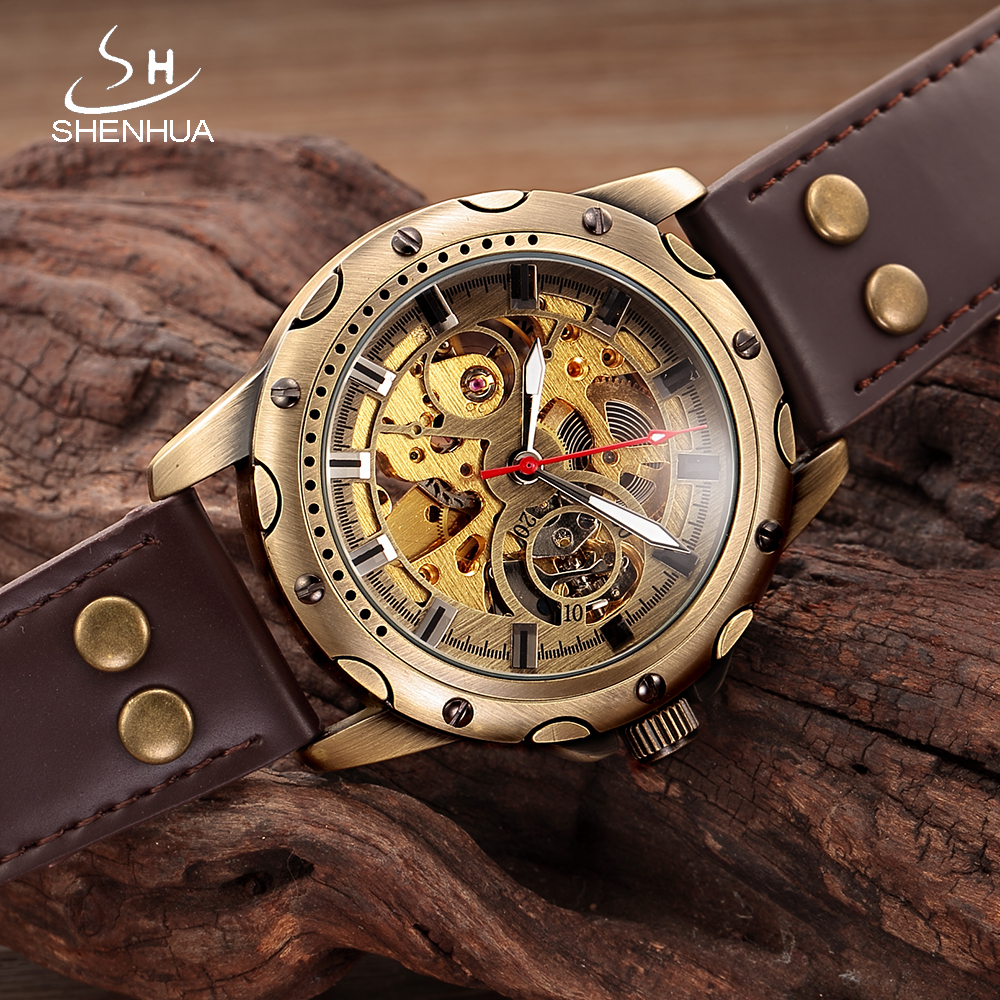 SHENHUA montre homme automatique Skeleton Watch Men Mechanical Automatic Mens Watches Transparent WristWatch horloges mannen бинокль carl zeiss 8x56 t fl victory