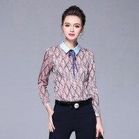 Elegant Pattern Printed Shirt Women Long Sleeve Collar Shirts With Bow Plus Size M To 4xl