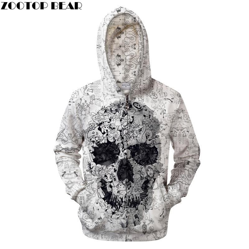 White Hoodies 3D Skull Sweatshirts Men Zip Hoody Zipper Pullover Male Coat Autumn Tracksuit Quality Hoodie Dropship ZOOTOPBEAR