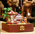 Free Shipping new DIY handmade  cabin carousel Amusement Park miniature Doll house /assembling model  creative gifts for lover