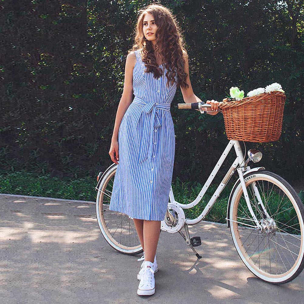 2019 hot new products Ladies striped sleeveless dress Bohemian sleeveless dress Ladies' clothing Collants sans manches 40*