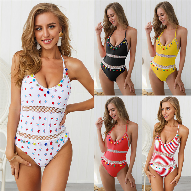 One Piece Swimsuit Women Backless Swimwear 2019 Sexy V Neck Bikini Push Up Tassel Ball Bathing Suit Halter Bandage Swimsuit in Body Suits from Sports Entertainment