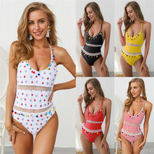 купить One Piece Swimsuit Women Backless Swimwear 2019 Sexy V Neck Bikini Push Up Tassel Ball Bathing Suit Halter Bandage Swimsuit по цене 835.63 рублей