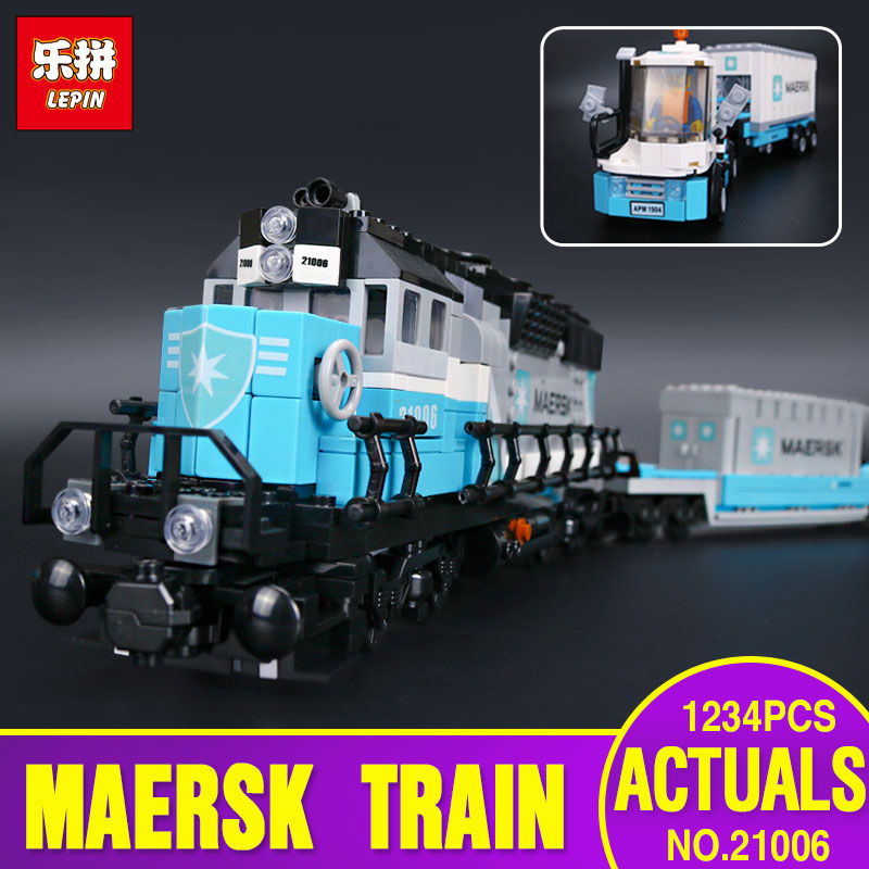 Lepin 21006 1234pcs Genuine Technic Ultimate Series The Maersk Train Set Educational Building Blocks Bricks Toy Gift legos 10219 t3184b educational toy coin slide chip game toy playing toy set