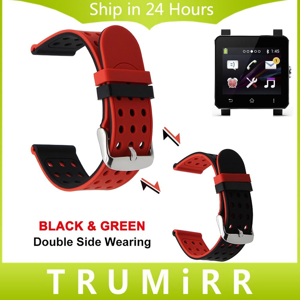 Prix pour 24mm Caoutchouc Bracelet En Silicone Double Face Portant Sangle pour Sony Smartwatch 2 SW2 Montre Bande Poignet Ceinture Bracelet Noir Bleu rouge