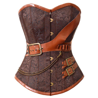 New Fashion Brown Brocade Corset And Bustiers Gothic Steampunk Women's Lingerie Overbust Free Shipping W580907