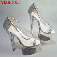 The new summer sandals silver gold 17 cm heels wedding sexy woman toe pump transparent crystal shoes