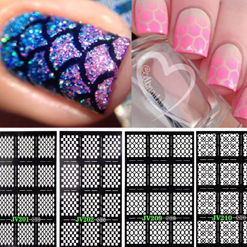 Learnever 12 Tips 1 Sheet Fish Scale Grid Pattern Vinyls Nail Stickers Art Manicure Stencil Stamping Decorations In Decals From