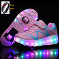 New Popular Kids Glowing Sneakers With Wheels Children Led Shoes Boys Girls Light Up Roller Skate Shoes Stars tenis de rodinha