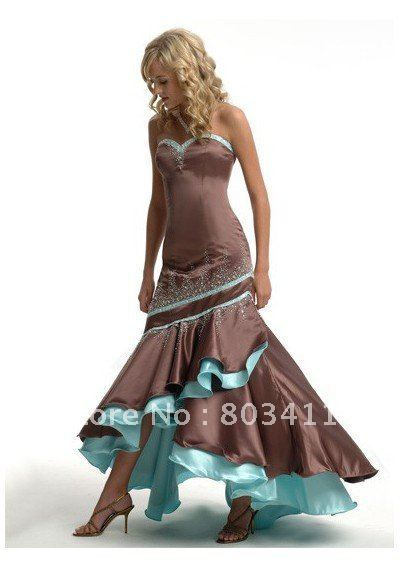 On Sale !!!! Free Shipping Classical Custom Made Elegant Asymmetrical Evening Dress