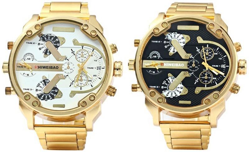 SHIWEIBAO Herre ure Dobbelt Quartz Movt Gold Watch Armbåndsure Big - Mænds ure - Foto 5