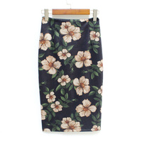 Hermicci 2017 Autumn Winter New Formal Elegant Flower Print Suede Leather Skirt Midi Long Pencil Skirt