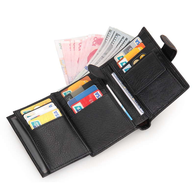 Brand Casual Wallets Men Genuine Cowhide Leather RFID Wallet With Coin Pocket Purse Card Holder Short Hasp Design Black Brown casual weaving design card holder handbag hasp wallet for women