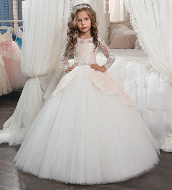 Flower Girls Dresses O-neck Long Sleeves Beading Belt Bow Back Button Pageant Gowns For Kids Wedding Hot Sale