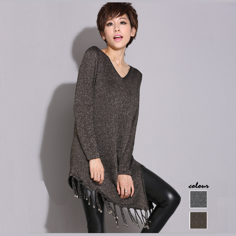 2017 fashion design Tassel Women Sweater O-Neck Full Sleeve Knitted Irregular Long winter Autumn solid color pullovers sweater