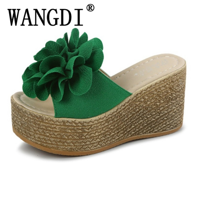 Black Green Newest 2019 Ladies Summer Flower Shoes Woman High Heel Wedges Flip Flops Open Toe Thick Platform sandals Size 34-40 black red green pink summer sheepskin woman platform flip flops slippers thick high heels beach sandals for women open toe shoes