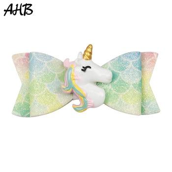 AHB New Mini Unicorn Hair Bows Glitter  Clips for Girls Princess Hairpin Summer Rainbow Barrettes Kid Accessories