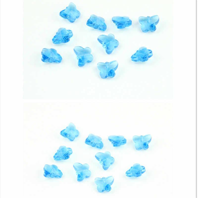 Высокое качество 14 мм 1000 шт Мини стеклянные бабочки бисер стразы цвета Аквамарин детали призмы для продажи DIY Свадебные украшения дома бусины