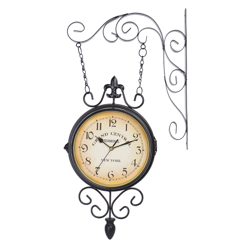 European Vintage Home  Decor Black White Double Sided 9 Inches Round  Wall Mounted Hanging Iron Clock