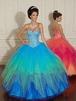 New Style Sweetheart Sleeveless Muti Colors Ball Gown Prom Dress 2015 Sexy Open Back Long Women