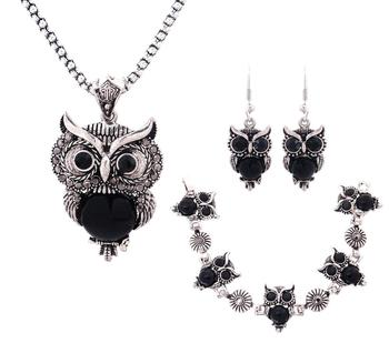 Women's Cute Owl Jewelry Set Jewelry Jewelry Sets Women Jewelry Metal Color: black