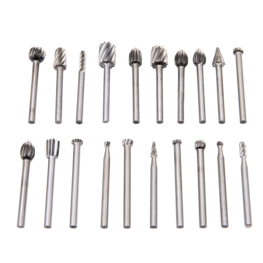 цена на 20pcs/Set 3mm Wood Drill Bit Nozzles for Dremel Attachments HSS Stainless Steel Wood Carving Tools Set Woodworking