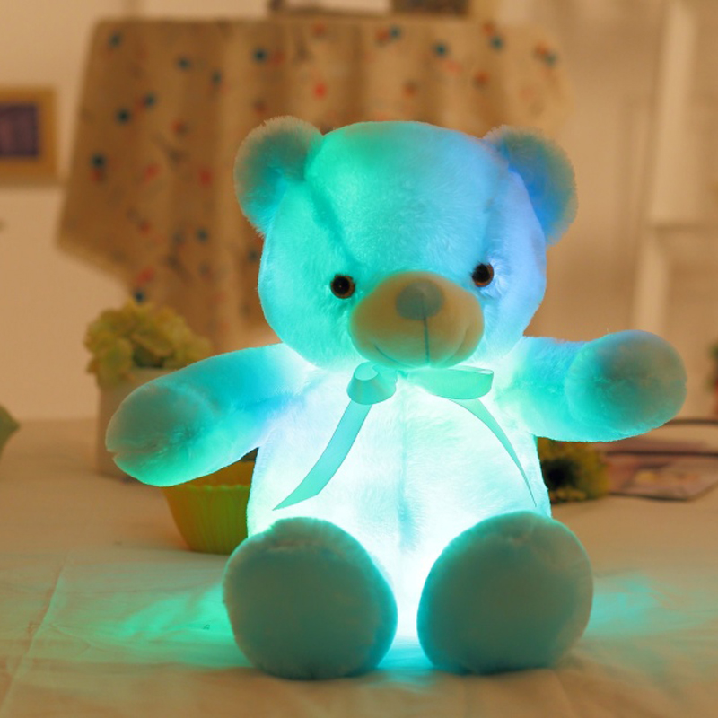 Luminous Led Light Teddy Bear Plush Toy Flashing Lighting Pink Blue