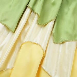 Image 5 - 5 10 jahre Mädchen Prinzessin Kleid Kind Weihnachten Grün EINE Linie Frosch Kleidung Kleid Phantasie Tiana Party Kleid für mädchen Cosplay Kleid Bis